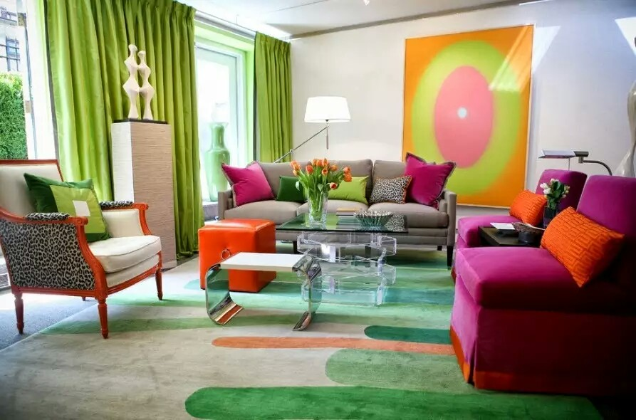 Colourful Vibrant Living Room Interior Design