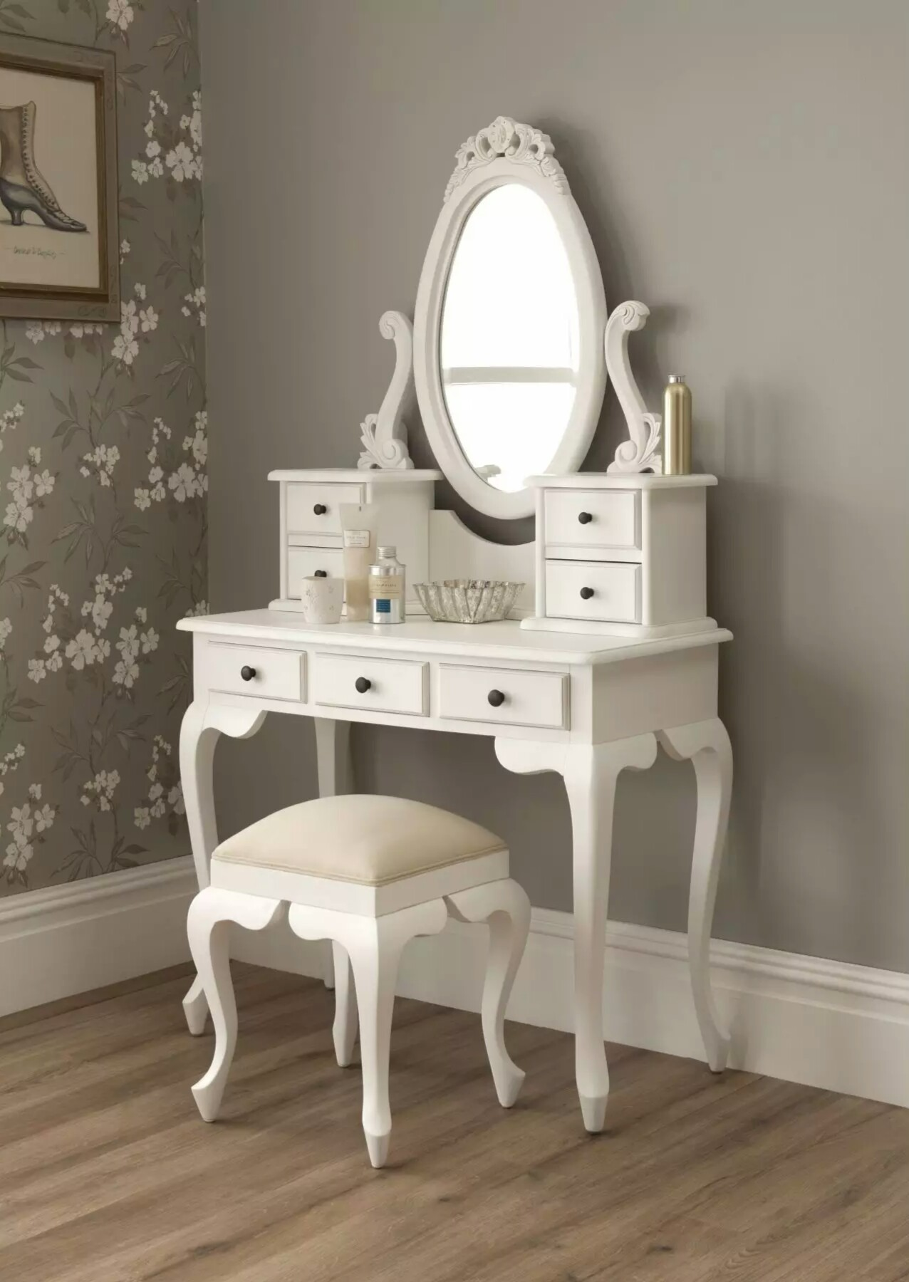 Superb img of interior furniture decoration sweet white wooden dressing table  with #284B5C color and 1276x1800 pixels