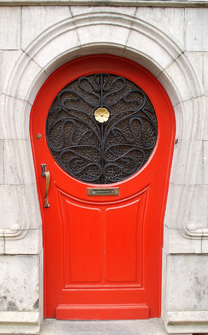 Lovely Red Roundish Vintage Doors