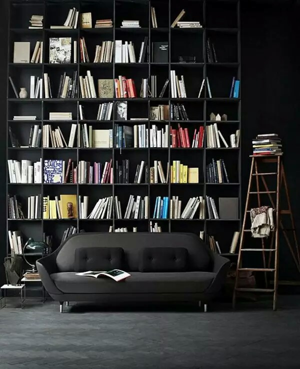 Luxurious Interior Balck Sofa And Bookshelf Design