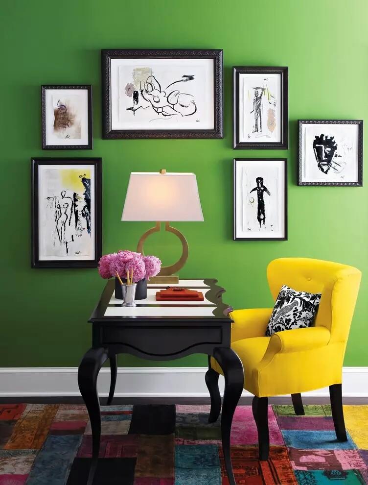 vibrant green home interiors~01