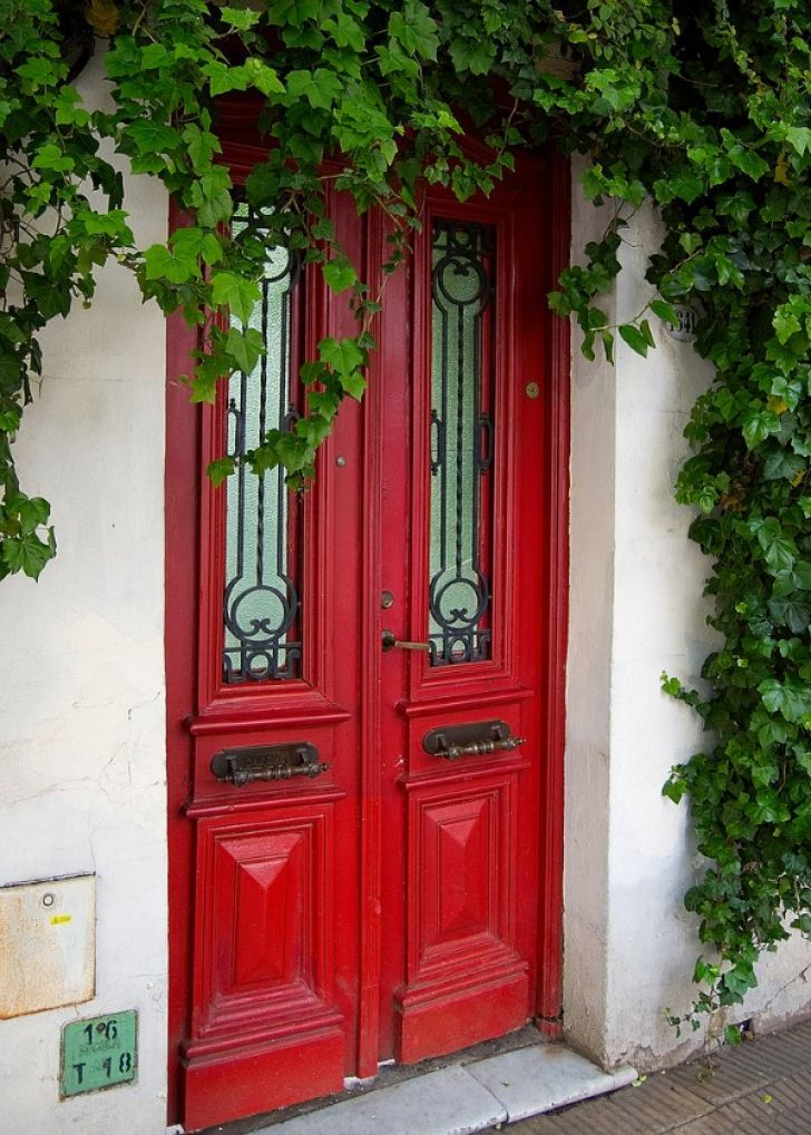 Red Vintage Door With White Wall