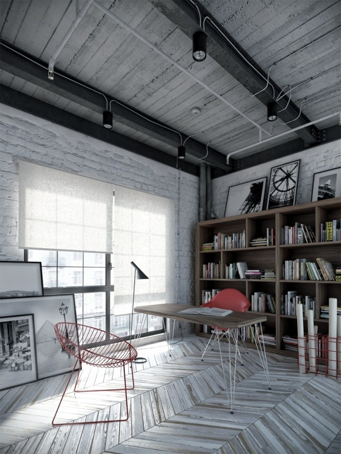 Industrial Interior Design Ideas modern industrial style deep colors complimented by wood flooring simple furniture and black Workspace Decor Industrial Interior Design Industrial Interior Design Ideas