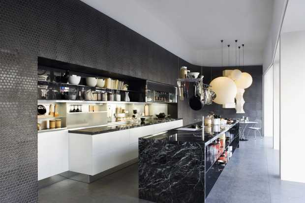 Kitchen Design Ideas with Individuality Luxurious Black Marble Kitchen Island