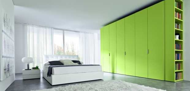 Modern Green Wardrobe in Bedroom with White Interior Design