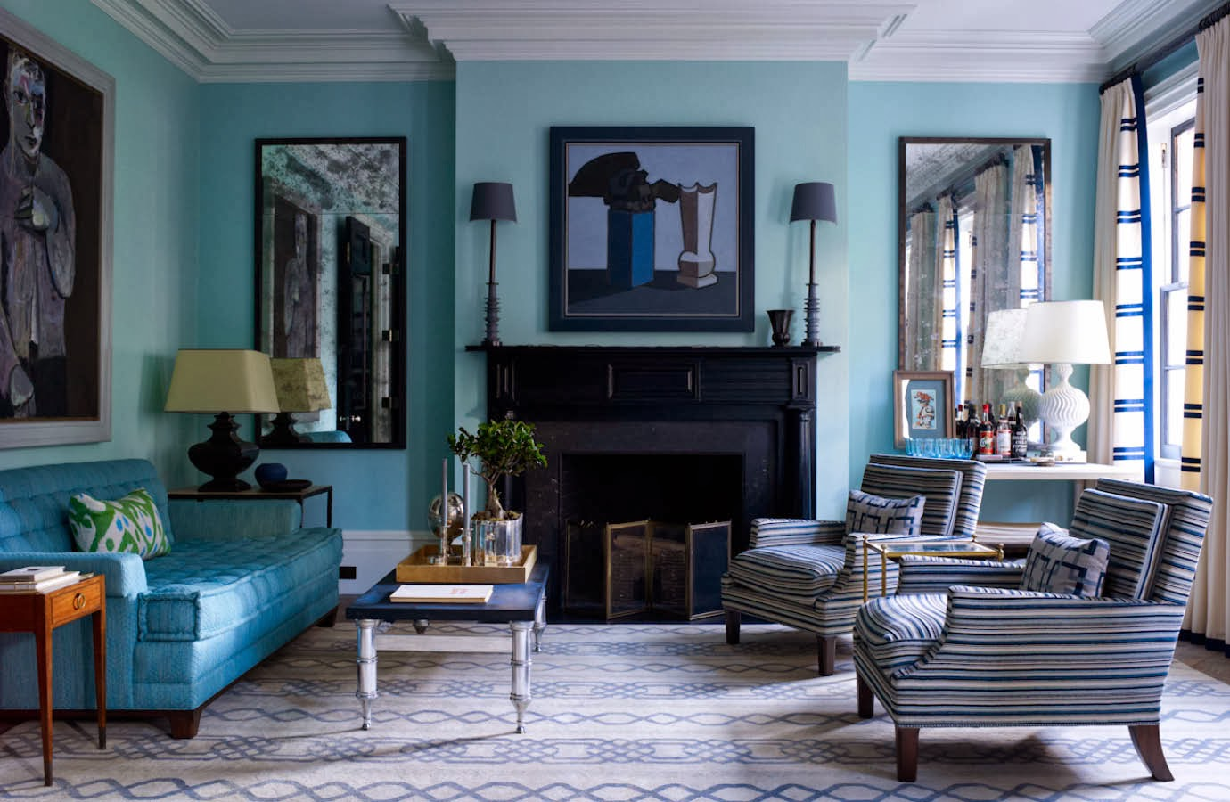 Living Room With Bold Turquoise Walls Pictures To Pin On Pinterest