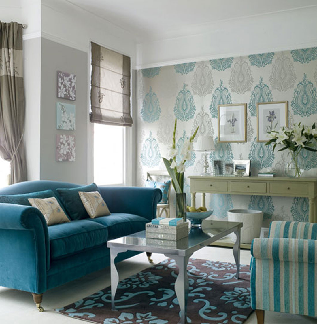 Living Room Interior Design: The Texture Of Teal And Turquoise