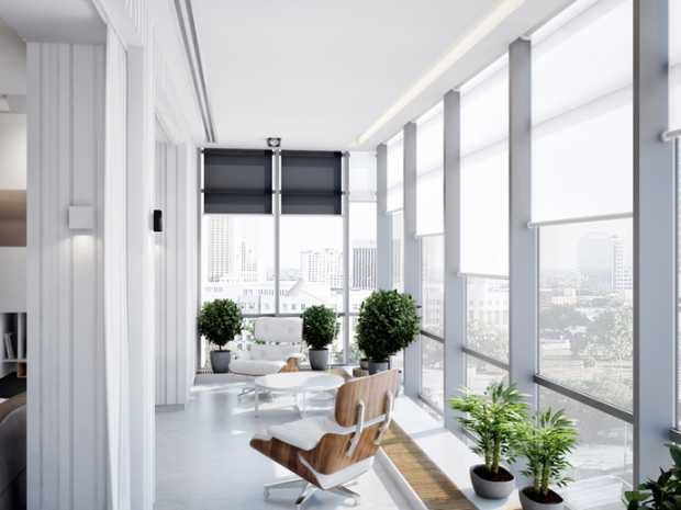 White Ukrainian Apartment Design with Large Window and Plants
