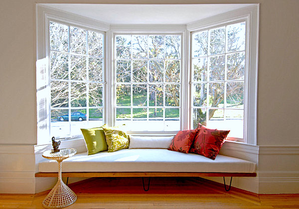 Window Sill Seats with Cushions and Big Windows