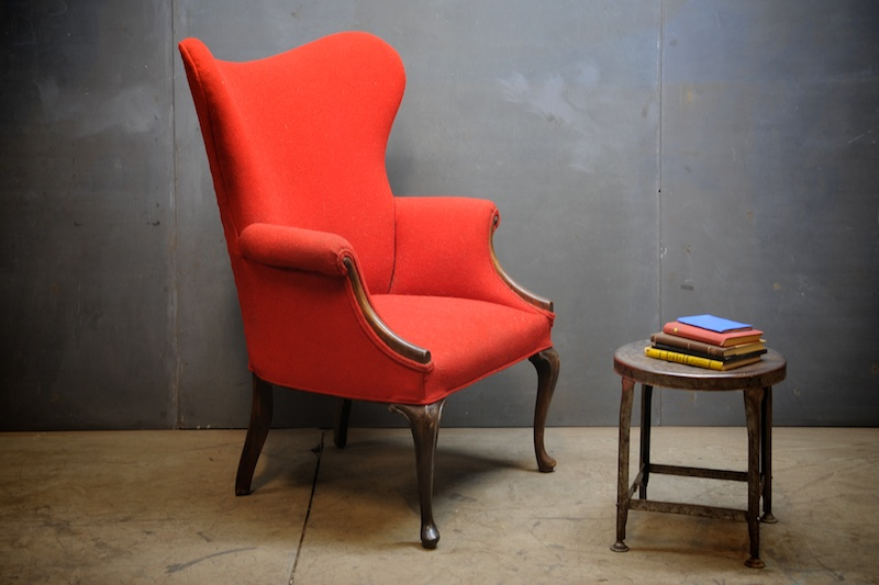 Danish High Style Wingback Library Chair Vintage