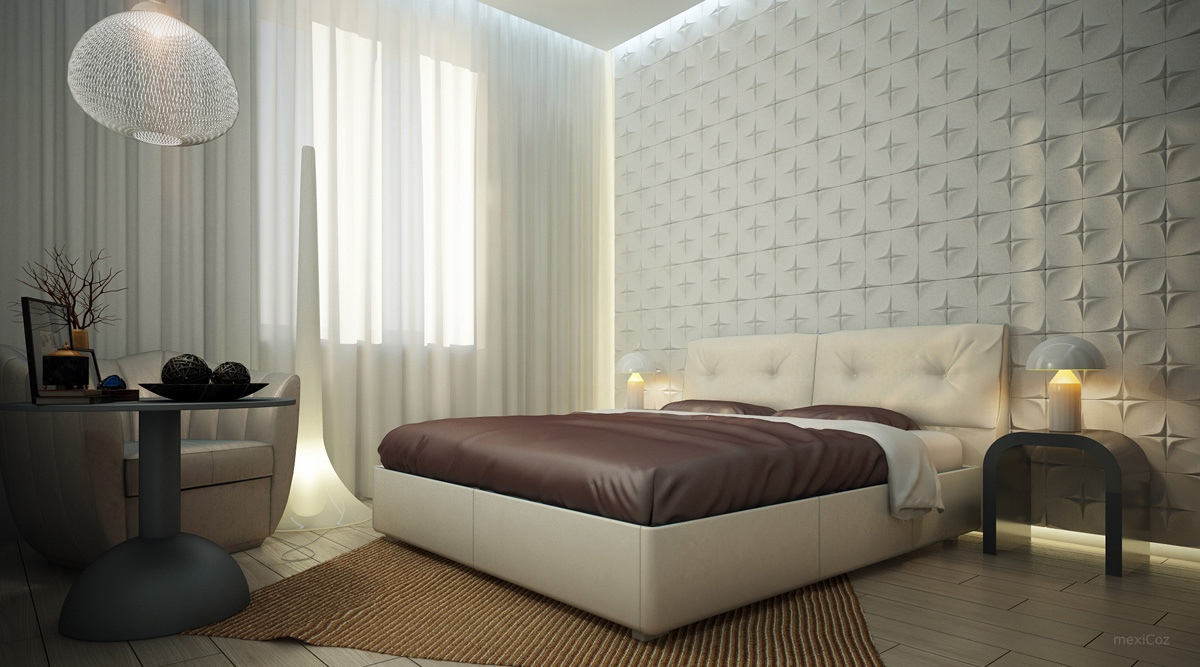 Mood Lighting White Bedroom Textured Feature Wall