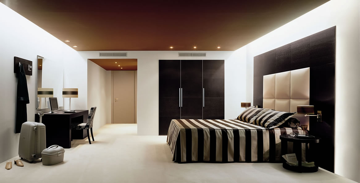 Mood Lighting Brown And Creamy Bedroom Interior With Creamy Carpet