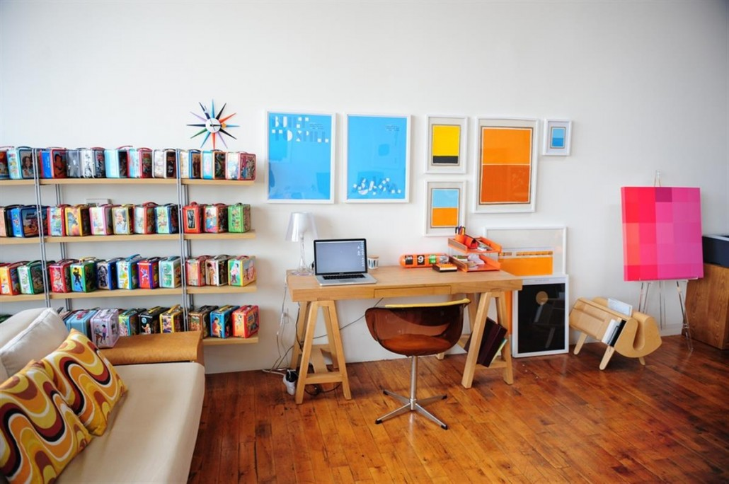 Office Decoration with Colorful Work Art and Armless Sofa
