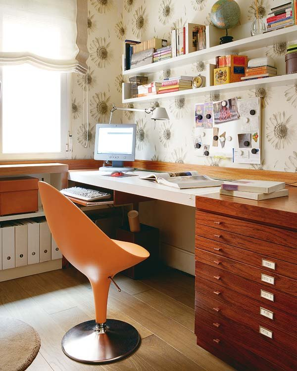 Orange Chair Corner Workspace for Bedroom