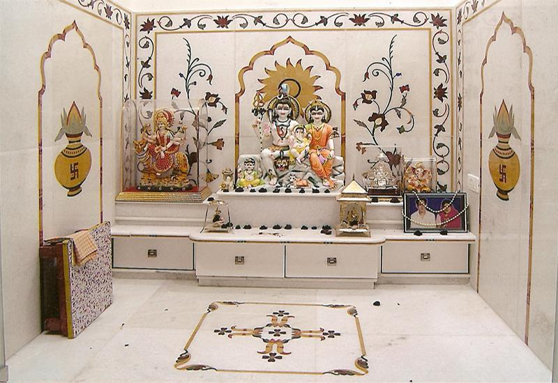 Create an amazing blend of vastu and om recitation my for Temples at home designs