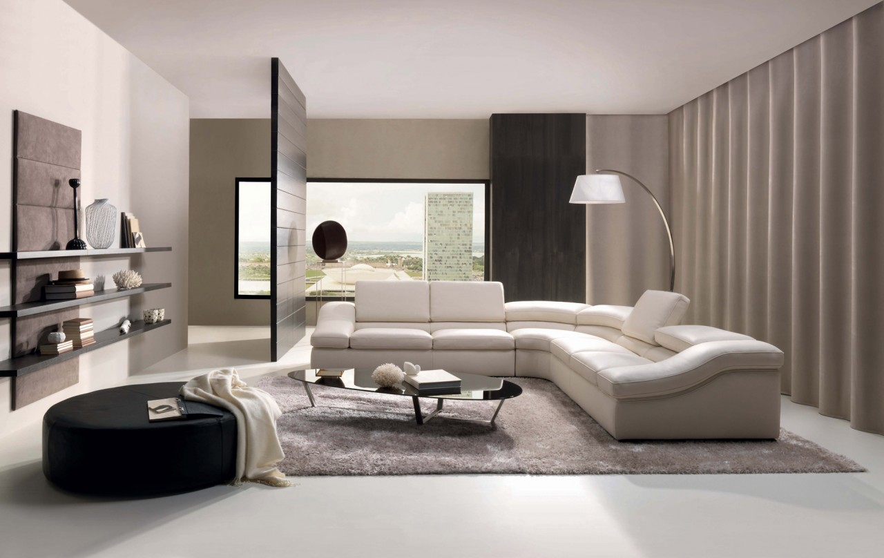 Sofa And Chair Modern Ideas Living Room Modern Brown Living Room With White Leather Sofa Arc Gold Floor Lamp And Black Couch Also Glass Table Top With Chrome Table Base On White Rug Cool Contemporary