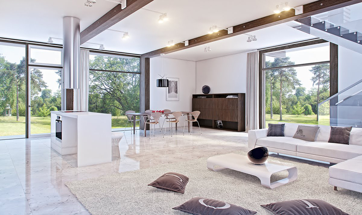 White Italian Marble Living Room With Gl Accents Home Décor
