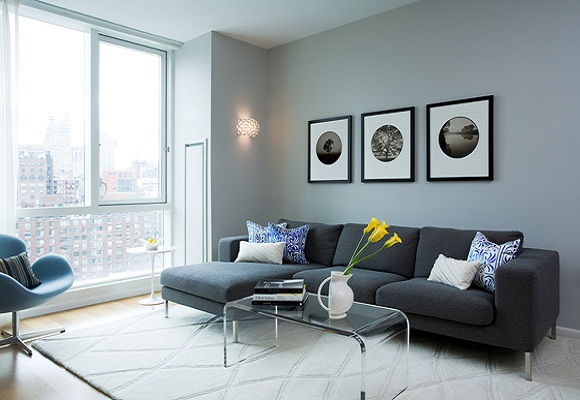 Blue Gray Paint Color Combination for Living Room