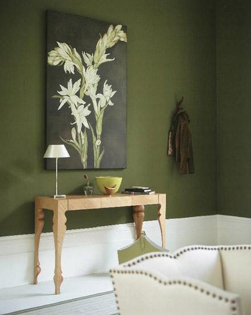 Olive Interior Design With White Flooring