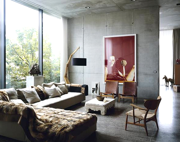 Industrial Chic Living Room Concrete Fur Hermes