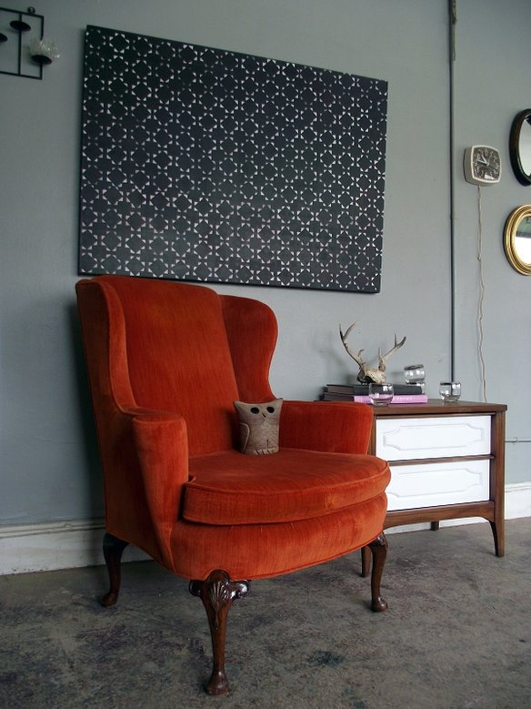 Orange Wingback Chair