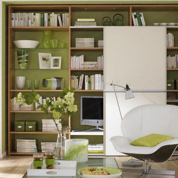 White Sofa under White Arch Lamp beside Wooden Rack in Living Room