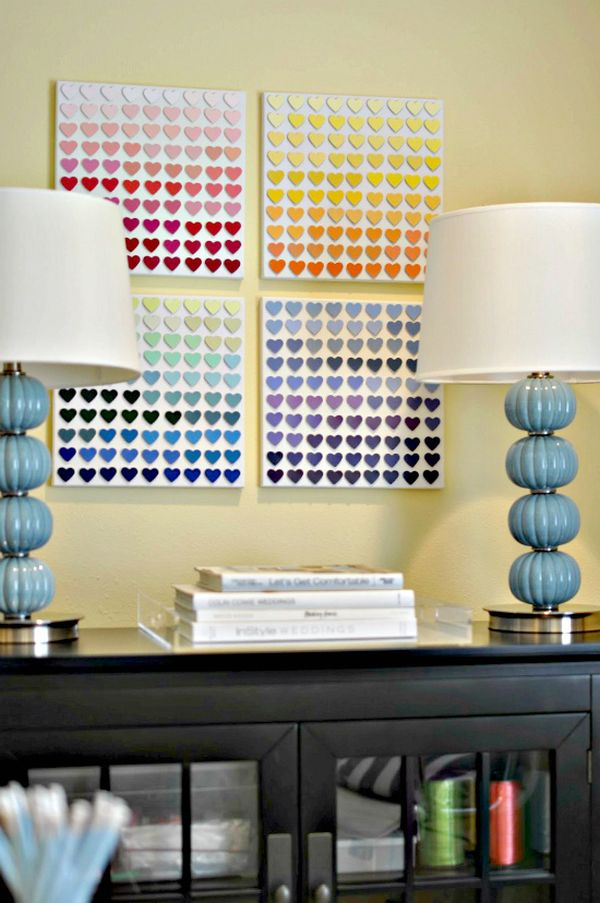 Rainbow Paint Chip Wall Art DIY Ideas