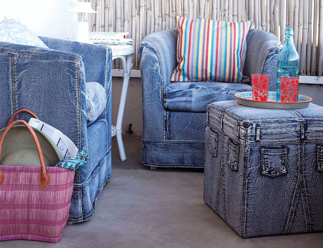 denim for interior decoation and design