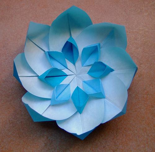 Origami Flower Aqua Blue