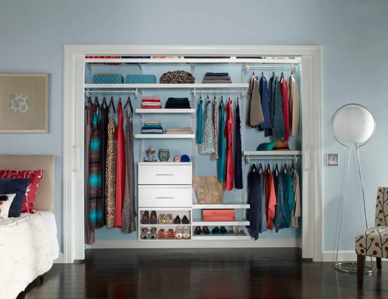 Wardrobe Organization Ideas With Blue Wall
