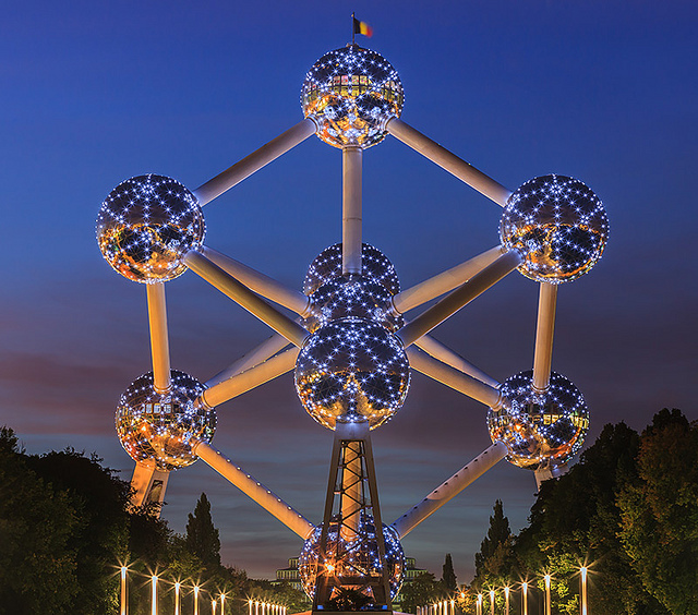 Atomium in Brussels Night Lighting