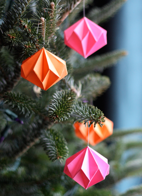 Origami Diamond Ornaments