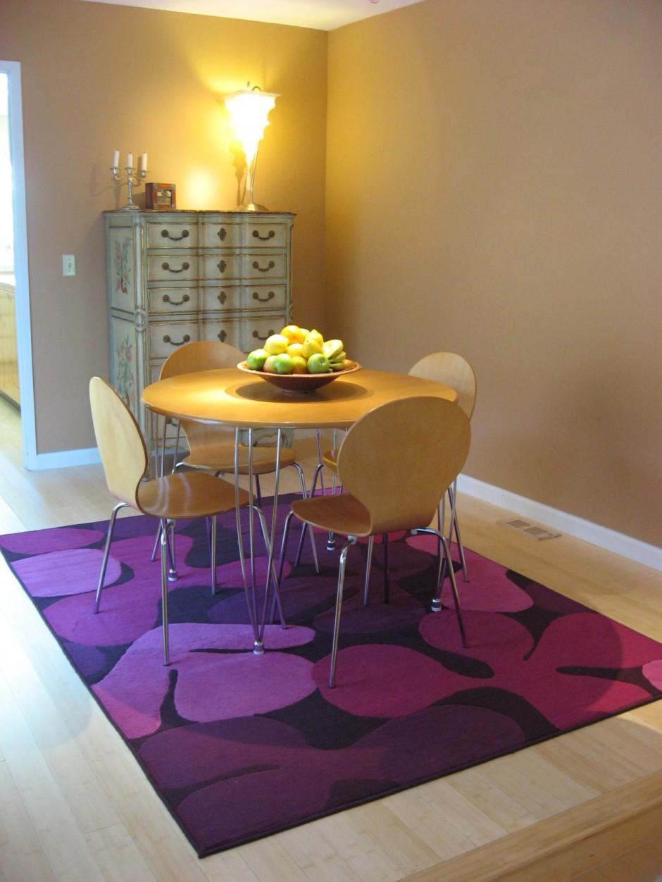 Purple Rug in Minimalist Dining Room