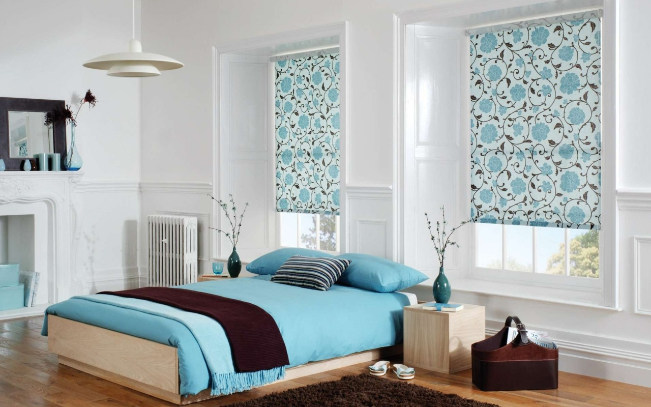 Awesome blue bedspread plus funky curtain design ideas also parquet flooring design ideas for home modern bedroom interior as well as unique pendant
