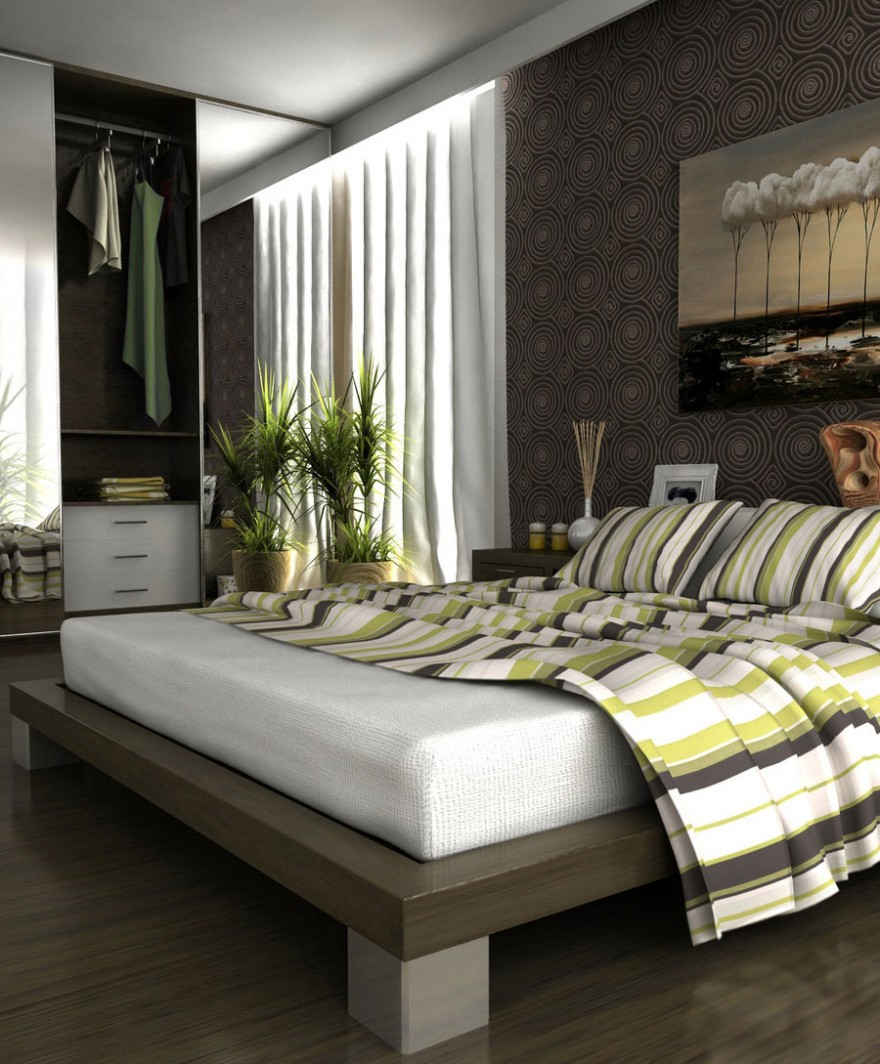 Calm Modern Bedroom With Green Plants