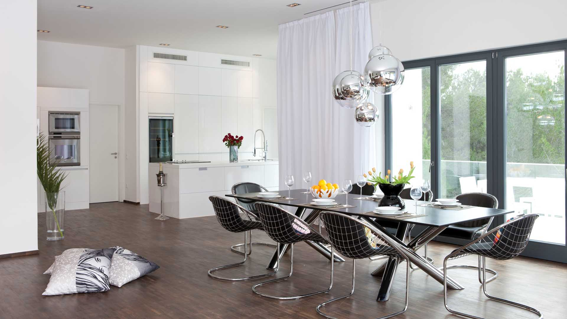 Dining Room Inspiration Cool Silver Balls Hanging Dining Lamps Over Long Dining Table With 8 Unique Dining Armchairs Stainless Legs On Wooden Floors And White Sliding Curtain Widow