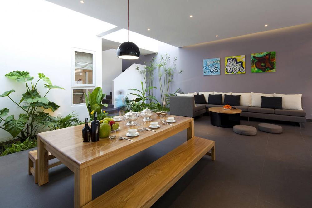 Indoor Garden Grey White Living Room Diner With Black Hanging Lighting