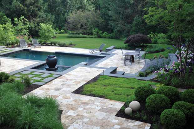 Modern Garden with Zen Water Body