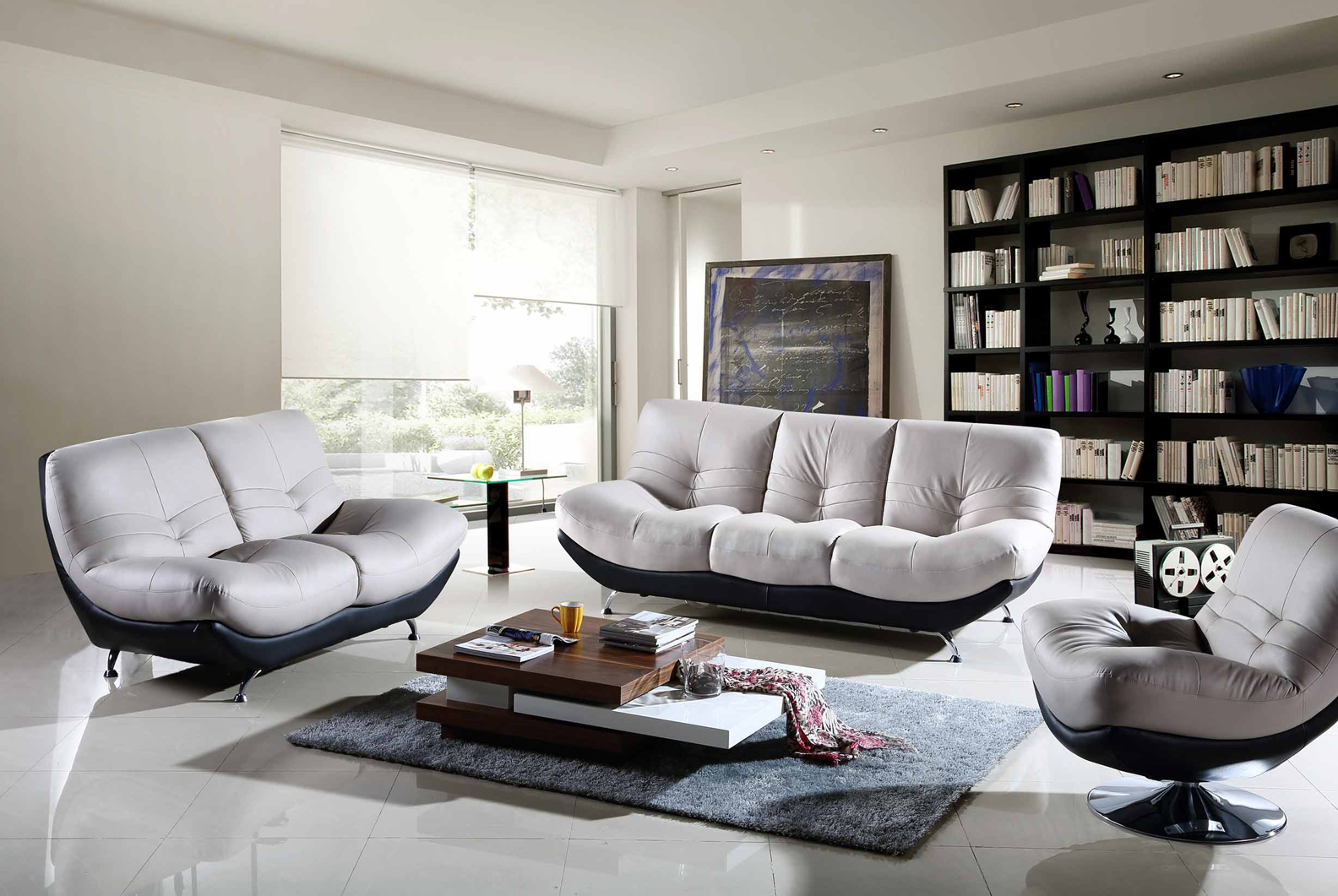 Contemporary Living Room with Sofas and a Charming White Minimalist Table