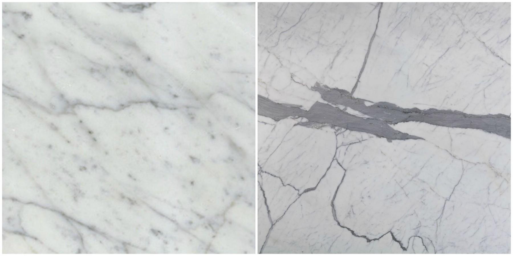Calacatta and Carrara Marbles