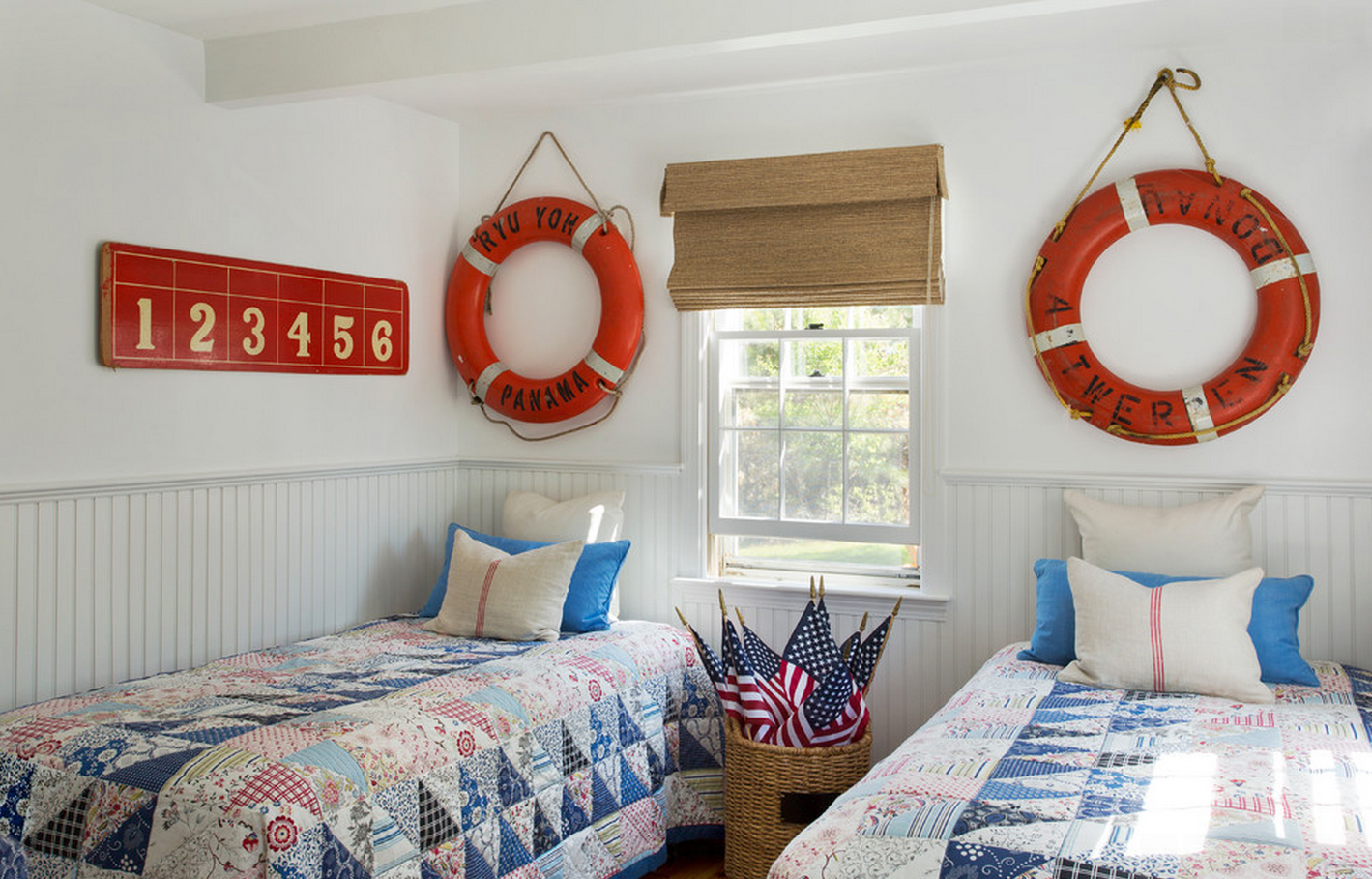 Life Buoy on the Wall behind the Bed