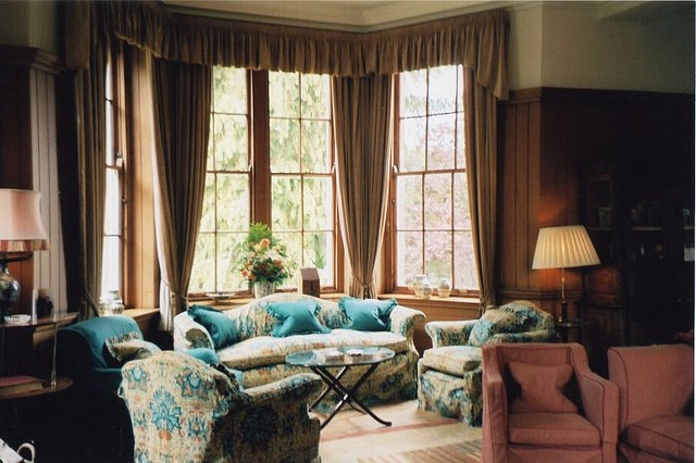 Coffee Colored Curtains with Black Floral Influences