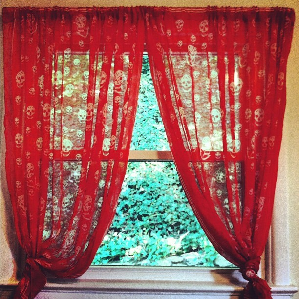 Sheer Rose Curtains with Textural Grid Patterns