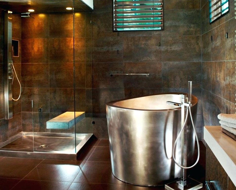 Stainless Steel Japanese Tub with Stainless Steel Shower Pan