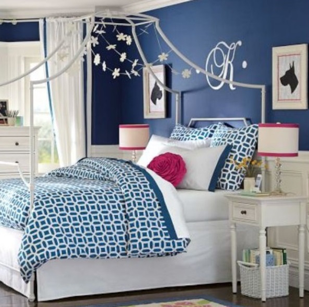 Blue And Pink Teenage Girls Room