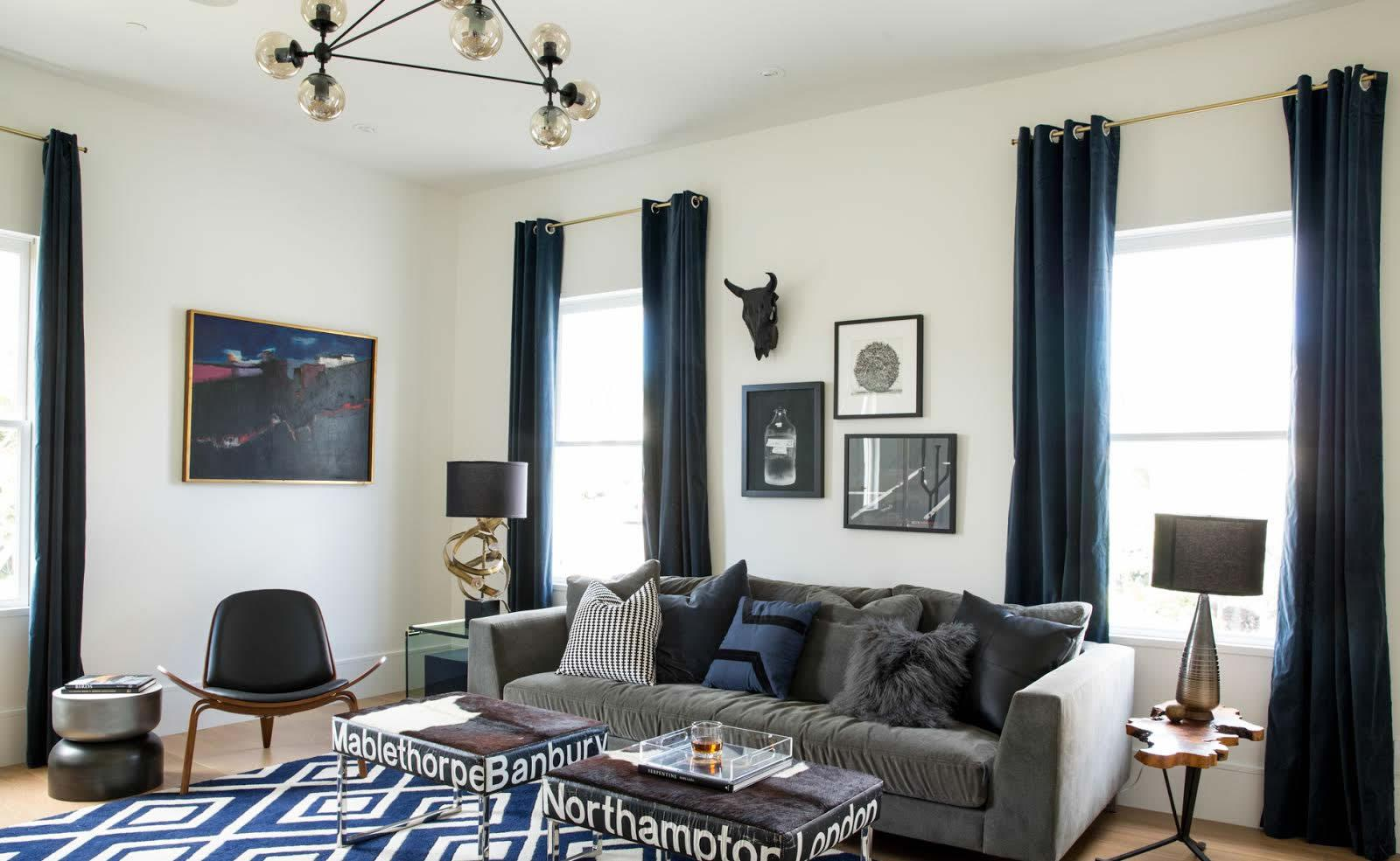 Masculine Navy Den With Texture and Mixed Materials