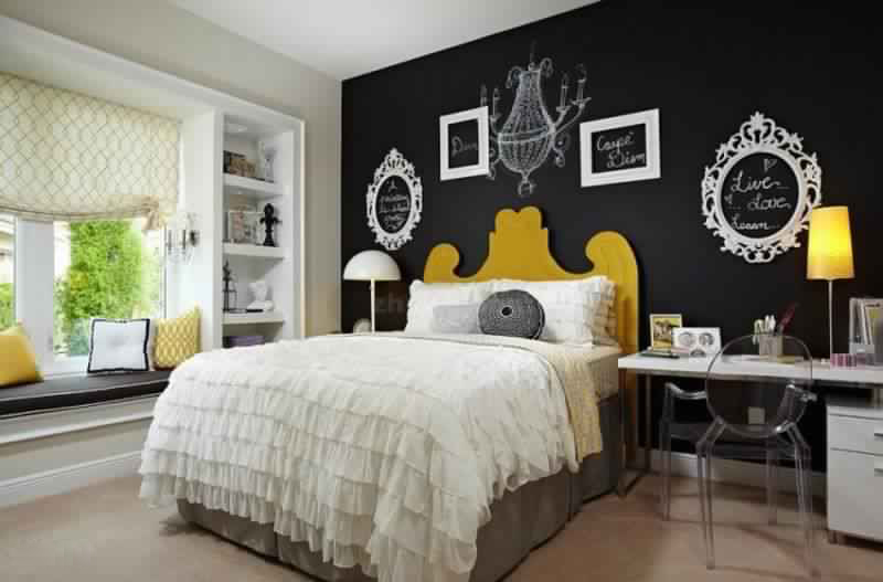 Girls Bedroom Chalk Board Wall Home Design Ideas