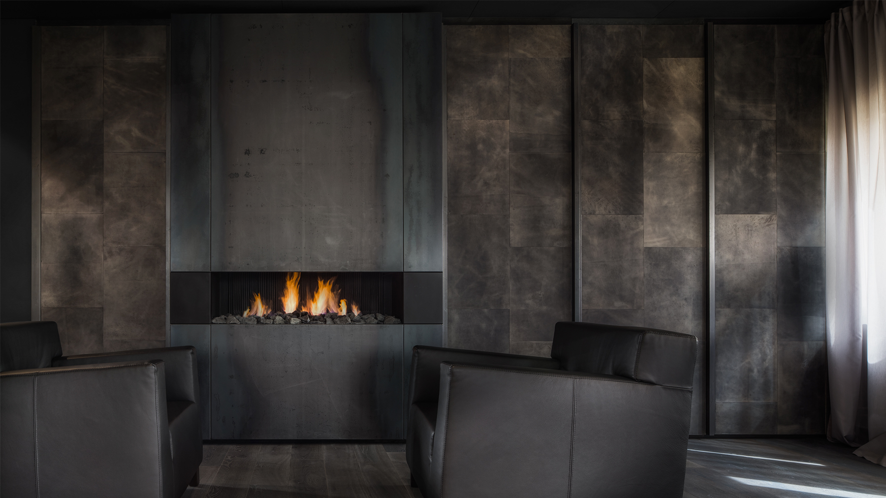 Sophisticatedly Dark Fireplace