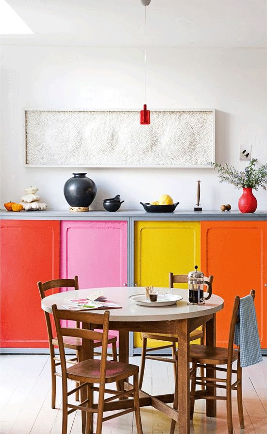 vivid colored cabinets