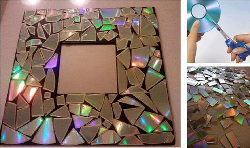 Decorate a Mirror Frame with Broken Pieces of Old CDs